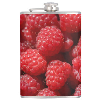 Delicious fresh and sweet red raspberries flask