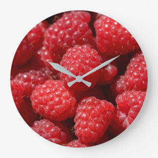 Delicious fresh and sweet red raspberries large clock