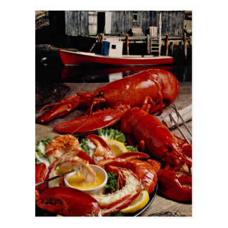 Delicious Fresh Atlantic lobster dinner on the fis Postcard