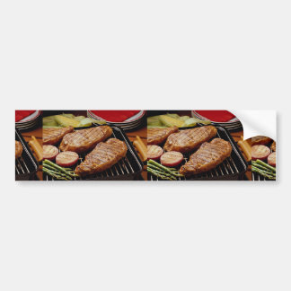 Delicious Grilled strip steaks Bumper Stickers
