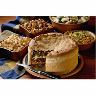 Delicious Ground beef pot pie with salads Standing Photo Sculpture