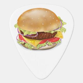 Delicious hamburger or cheeseburger. guitar pick