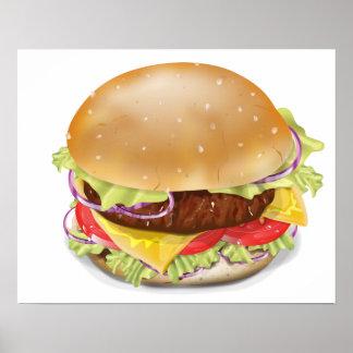 Delicious hamburger or cheeseburger. posters