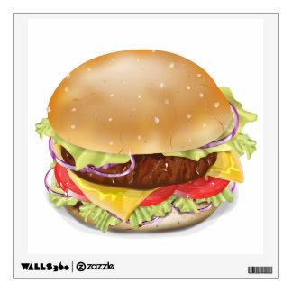 Delicious hamburger or cheeseburger. wall decal