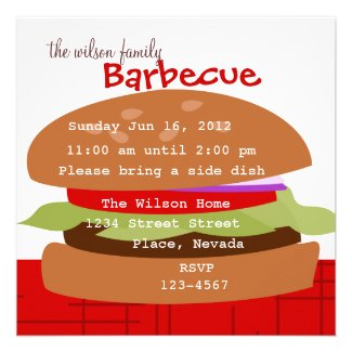 Delicious Hamburger Personalized Invite