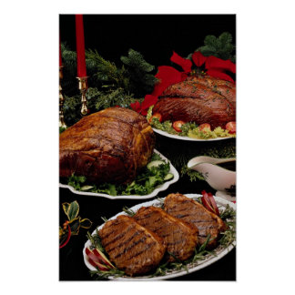 Delicious Holiday beef roast and steaks Poster