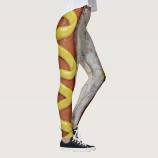 delicious hot dog with mustard photograph leggings