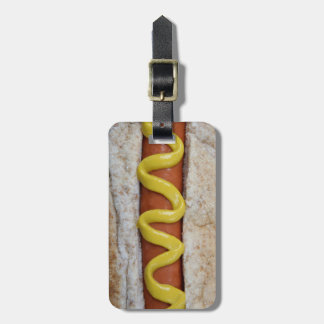 delicious hot dog with mustard photograph luggage tag