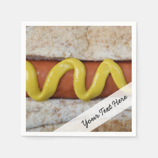 delicious hot dog with mustard photograph napkin