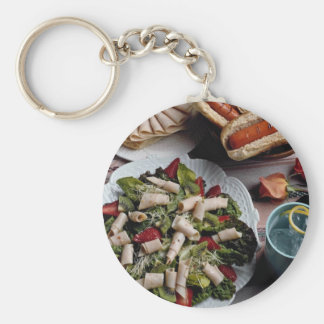 Delicious Hot dogs, turkey sandwich and meat salad Basic Round Button Keychain
