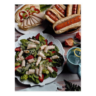 Delicious Hot dogs, turkey sandwich and meat salad Post Card
