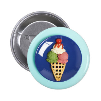 delicious ice cream served on blue plate 2 inch round button