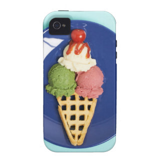delicious ice cream served on blue plate Case-Mate iPhone 4 covers