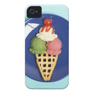 delicious ice cream served on blue plate iPhone 4 Case-Mate cases