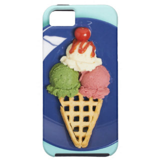 delicious ice cream served on blue plate iPhone SE/5/5s case