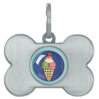 delicious ice cream served on blue plate pet ID tags
