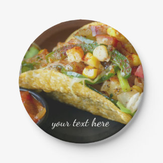 delicious Mexican Tacos photograph Paper Plate