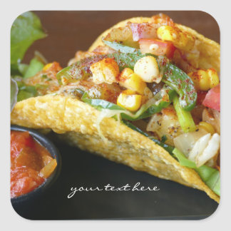 delicious Mexican Tacos photograph Square Sticker