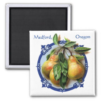 Delicious pears. Rogue Valley Medford souvenir. 2 Inch Square Magnet