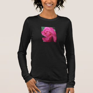 Delicious Pink Rose on Black long sleeved top
