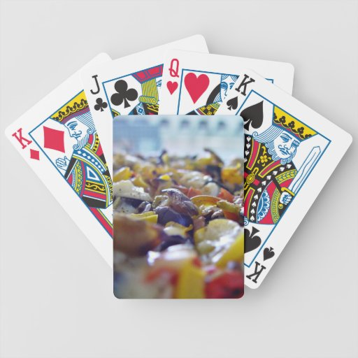 Delicious pizza with colorful toppings bicycle playing cards