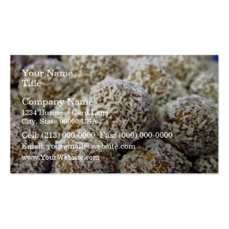 Delicious protein-packed coconut balls business card