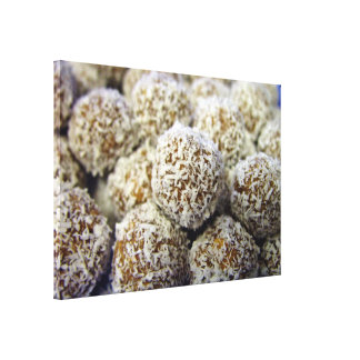 Delicious protein-packed coconut balls canvas prints