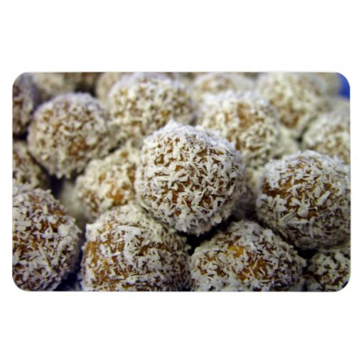 Delicious protein-packed coconut balls vinyl magnets