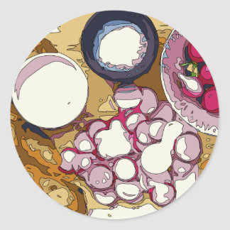 Delicious Radishes and Baguette Vegetables Classic Round Sticker