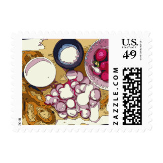 Delicious Radishes and Baguette Vegetables Stamp