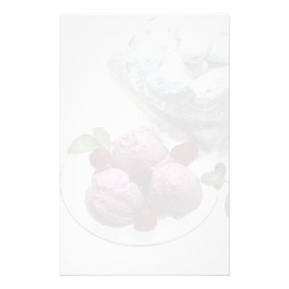Delicious Raspberry ice cream with frosted cakes Stationery