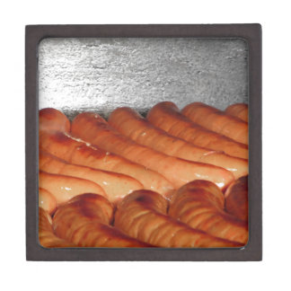 Delicious red baked sausages in row gift box