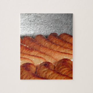 Delicious red baked sausages in row jigsaw puzzle