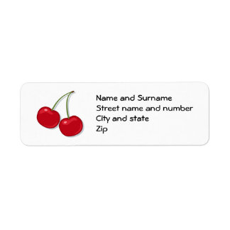 Delicious red cherries address labels