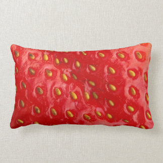 Delicious Red Strawberry with Seeds Lumbar Pillow