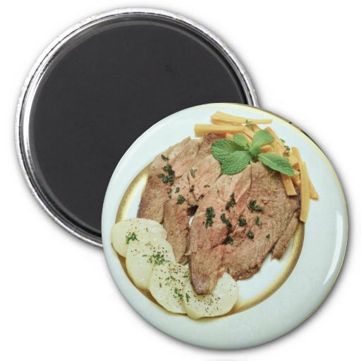 Delicious Roast beef with potatoes 2 Inch Round Magnet