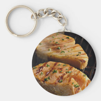 Delicious Salmon steaks on grill Key Chain