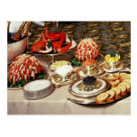 Delicious seafood and appetizers postcard
