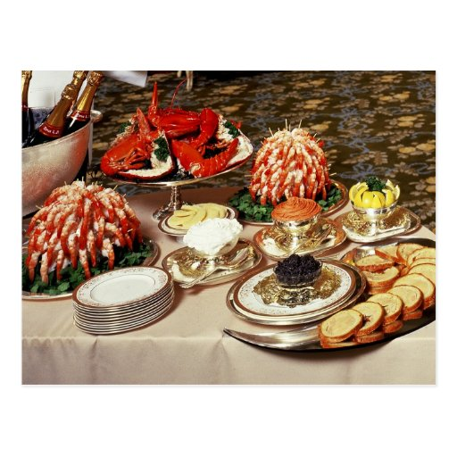Delicious seafood and appetizers post card