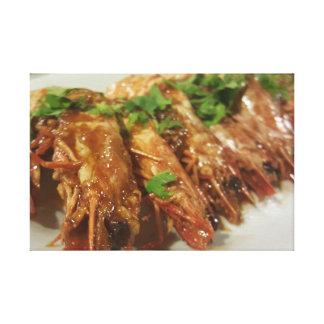 Delicious Spicy Tomato Sauce Shrimp Dish Canvas