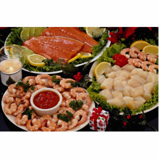 Delicious Styled platters of fish with poinsettia Standing Photo Sculpture