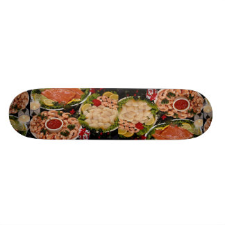 Delicious Styled platters of fish with poinsettia Custom Skate Board