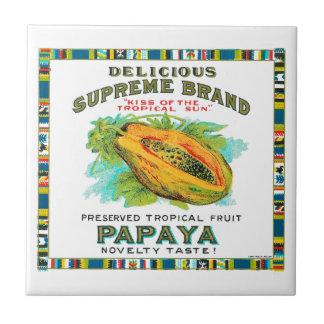 Delicious Supreme Papaya Preserved Tropical Fruit Ceramic Tile
