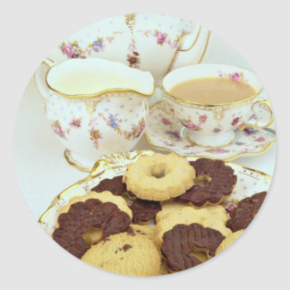 Delicious Tea and biscuits with posh china Stickers