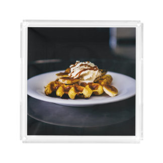 Delicious thick waffle for breakfast acrylic tray