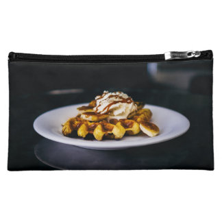 Delicious thick waffle for breakfast cosmetic bag