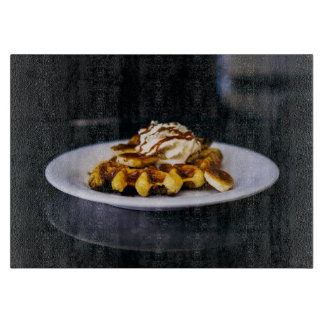 Delicious thick waffle for breakfast cutting board