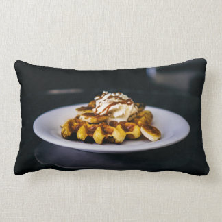 Delicious thick waffle for breakfast lumbar pillow