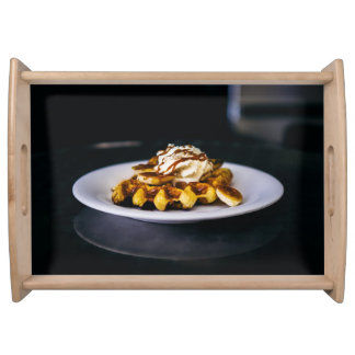 Delicious thick waffle for breakfast serving tray