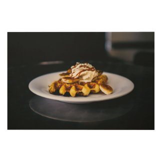 Delicious thick waffle for breakfast wood wall art